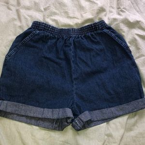 Dark wash mom jean shorts